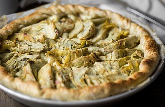 torta vegana carciofi e spinaci